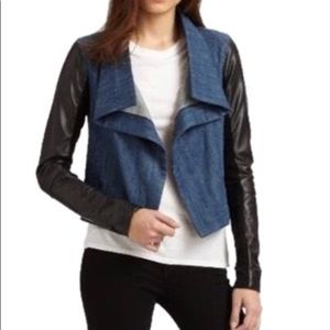 Jean jacket with leather trim